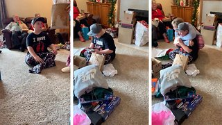 Tearjerking moment young boy is adopted by family for surprise Christmas present