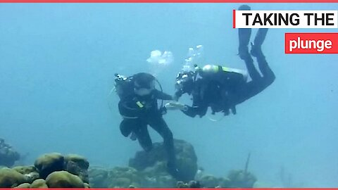 Man proposes to his girlfriend 30ft underwater in the Caribbean