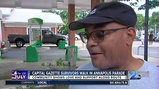 Capital Gazette survivors walk in Annapolis Parade - Video
