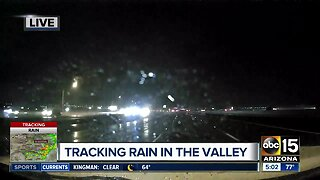 Rain falling in the Valley Monday morning