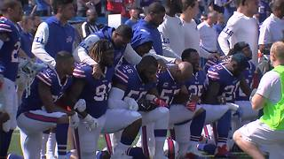 Several Bills players protest during Sunday's national anthem