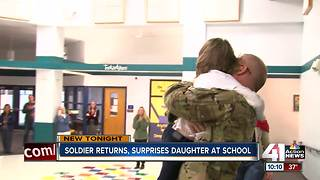 Soldier returns, surprises daughter at school