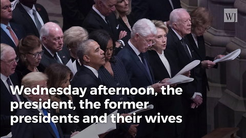 Watch Hillary When Bill, Carter, and the Obamas Greet Trumps. Even at a Funeral She Seethes