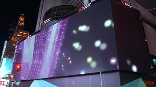 Block-long billboard lights up Times Square