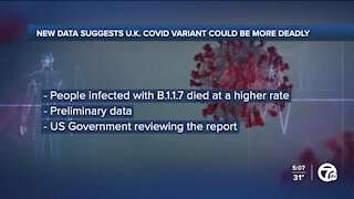 CDC reviewing new data that suggests coronavirus variant identified in UK could be more deadly