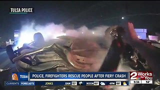 Tulsa police, firefighters rescue people after fiery crash