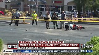 Moped rider dies after crashing into cement truck - Video