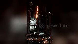 Large fire breaks out in 79-storey residential tower in Dubai - Video