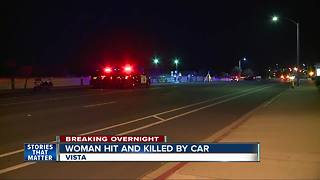 Woman hit and killed by car in Vista - Video