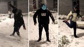 Dance troupe takes advantage of winter weather with incredible routine complete with snowballs and snow angels  - Video