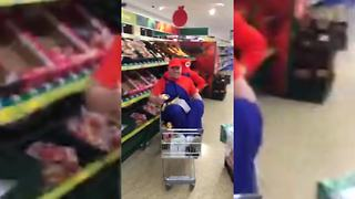 Super Mario Kart in the supermarket! - Video