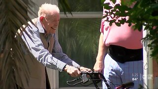Community throws a surprise birthday party for 100-year-old veteran