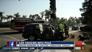 Driver in critical condition following vehicle versus pole crash in Southwest Bakersfield