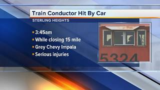 Train conductor seriously injured in Sterling Heights crash - Video