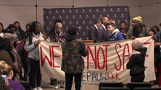 Protesters interrupt DePauw press conference - Video