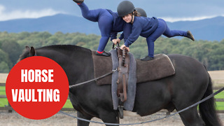 Children with disabilities perform gymnastics on a moving horse - Video