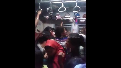 Fight breaks out in women's carriage on Indian train
