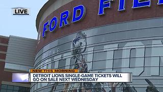 Detroit Lions single-game tickets go on sale next Wednesday