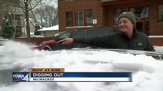 East Side residents dig themselves out of the snow after storm - Video