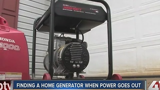 Finding a home generator when power goes out - Video