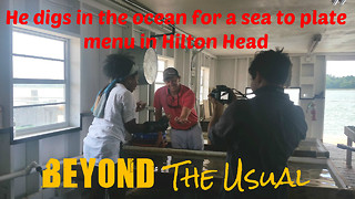 He digs in the ocean for a sea-to-plate menu in Hilton Head - Video