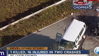 1 killed, 16 injured in two crashes - Video