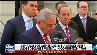 Menendez Chokes Up Then Attacks Prosecution After Judge Declares Mistrail in His Corruption Case - Video