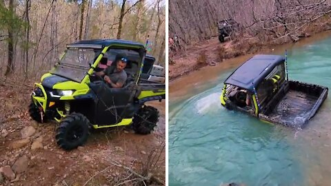 Dad almost loses vehicle trying to cross deep river