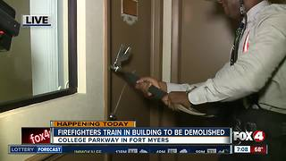 Firefighters training in building set for demolition - 7am live report - Video