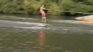 A Water Skier Loses Control After Running Into A Rubber Dinghy - Video