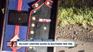 Military uniform saved in fire - Video