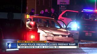 Large police presence closes I43 ramp - Video
