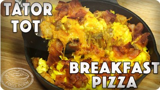 Bacon, egg, and cheese tater tot bareakfast pizza
