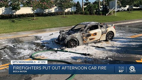 Firefighters extinguish car fire in Boca Raton