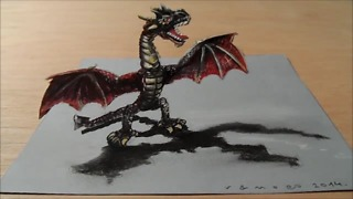 Drawing a 3D red dragon - Video