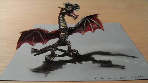 Drawing a 3D red dragon