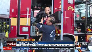 Firefighters help young boy with cancer gear up for bone marrow transplant