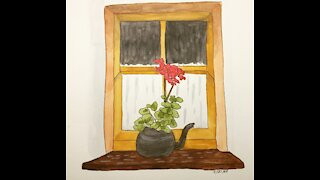 Flowers on a Windowsill Watercolor Painting Timelapse