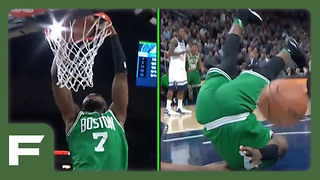 Jaylen Brown Lands on His HEAD After Dunk vs Timberwolves - Video