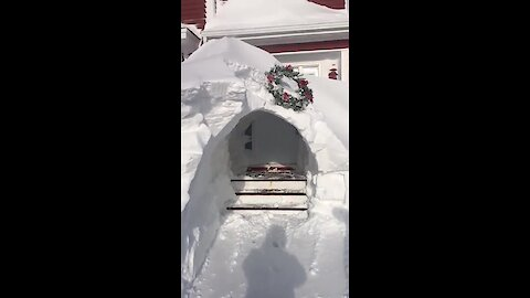 Stormageddon in Newfoundland results in epic front door archway