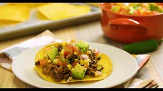 Turkey and Black Bean Tostadas with Avocado-Tomato Salsa - Video