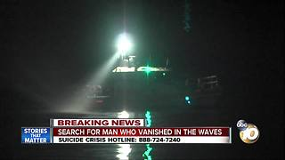 Search for man who vanished in waves