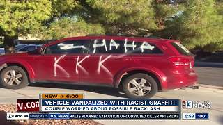 Elderly couple tagged with racist graffiti - Video