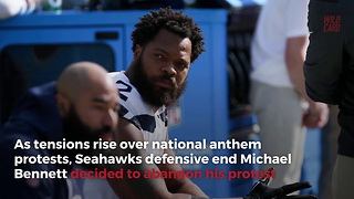 Seahawks' Michael Bennett Breaks Promise To Kneel For Anthem All Season - Video