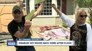 Disabled veteran moves back into his home after flood