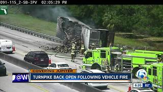 Turnpike reopens after truck fire