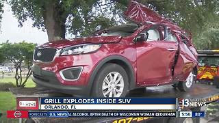Grill explodes grill inside SUV - Video