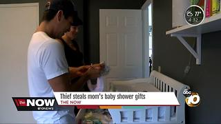 Thief steals mom's baby shower gifts - Video
