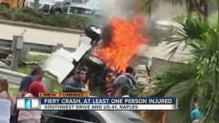 Car goes up in flames after crash - Video