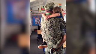 Soldier Surprises Daughter At School - Video